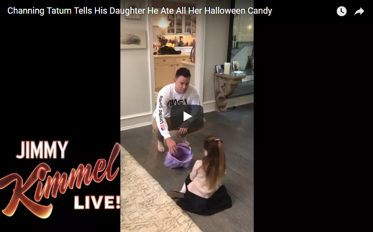 Channing Tatum tells his daughter he ate all of her Halloween candy. WATCH