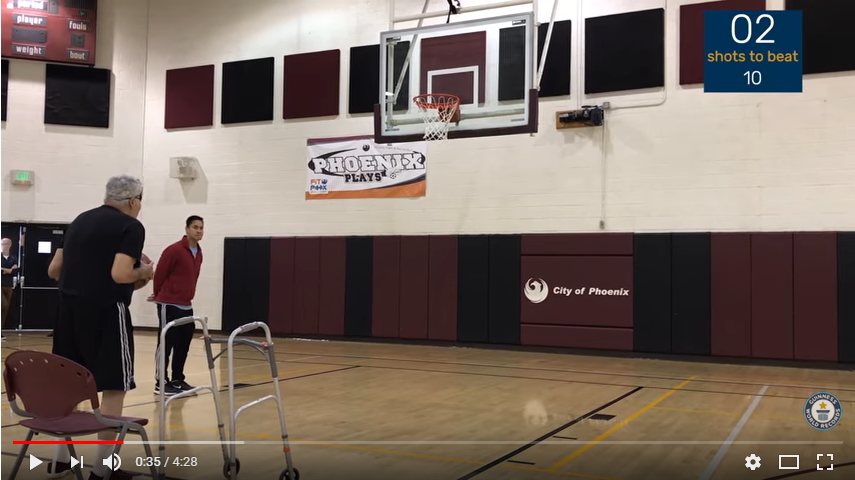A 73-Year-old man sets the record for most free throws while blindfolded. WATCH