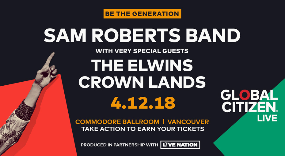 Email Subscribers: VIP tickets to see Sam Roberts Band