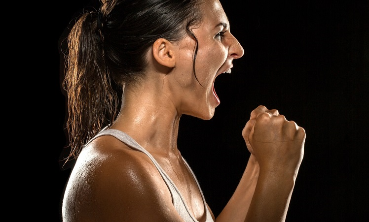 Victorious scream shout celebration athlete victory winning female champion