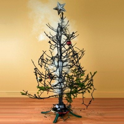 Watch how fast a real tree can go up in flames if it's dry!!
