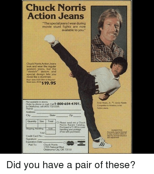 CHUCK NORRIS ACTION JEANS : A REAL THING.
