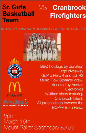7th Wildfire Classic charity pins Mt. Baker Senior girls vs. Fire Fighters