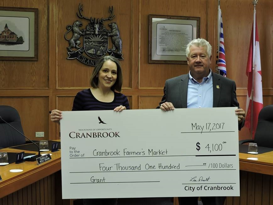 City of Cranbrook donates $4,100 to Farmer's Market