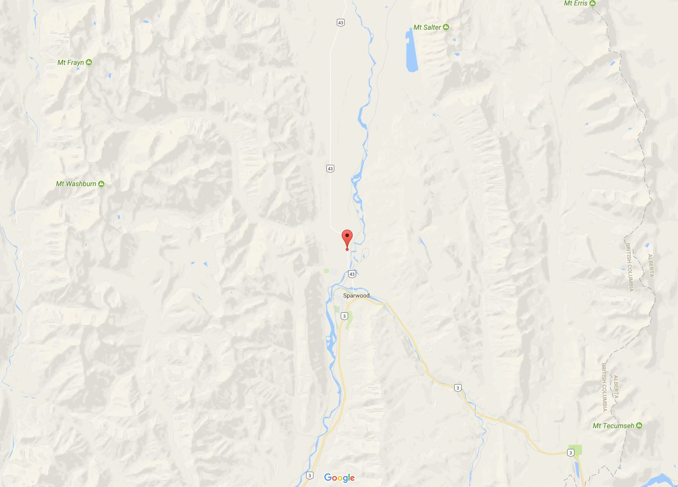 HWY 43 north of Sparwood closed due to downed power lines