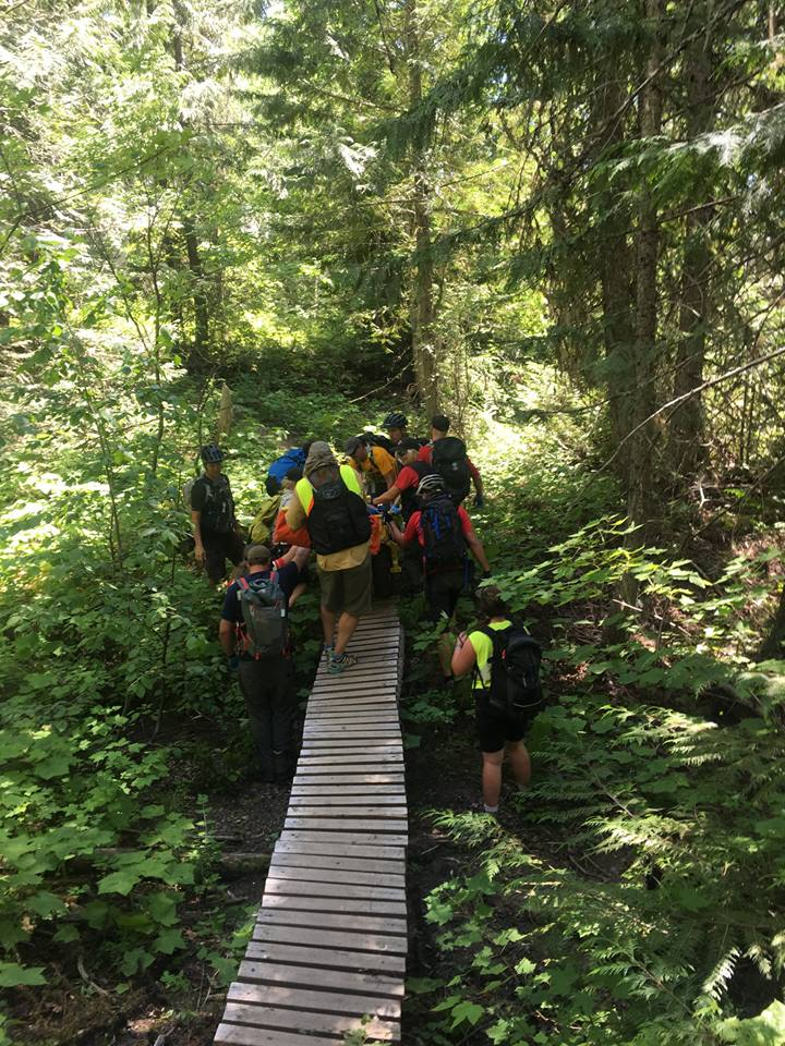 Fernie SAR rescue mountain biker with suspected spinal injury