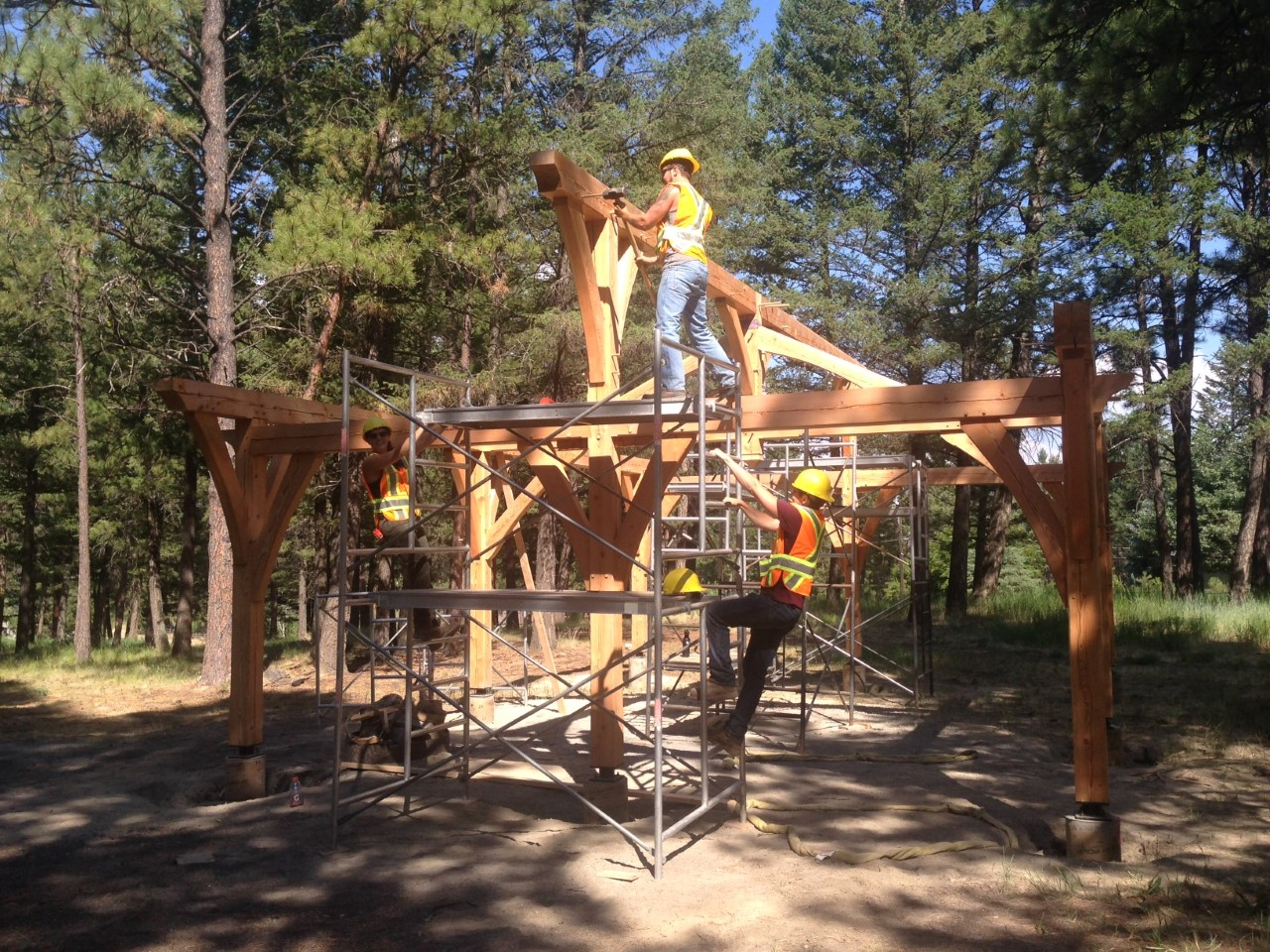 COTR Students raising new pavilion in Idlewild Park