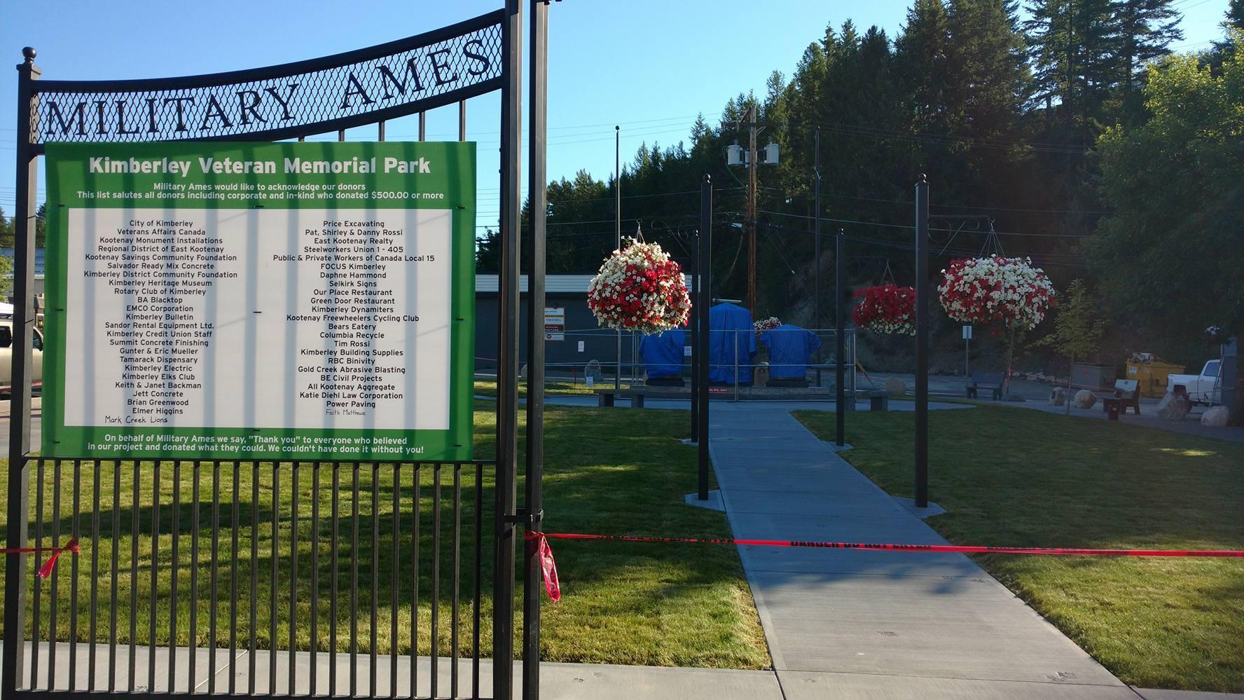 Kimberley's Veteran Memorial Park to be unveiled Saturday