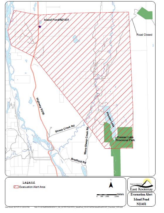 Evacuation alert issued for Island Pond/Premier Lake area