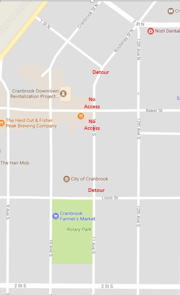 Baker St/11th Ave construction underway in Cranbrook, temporary closures Monday