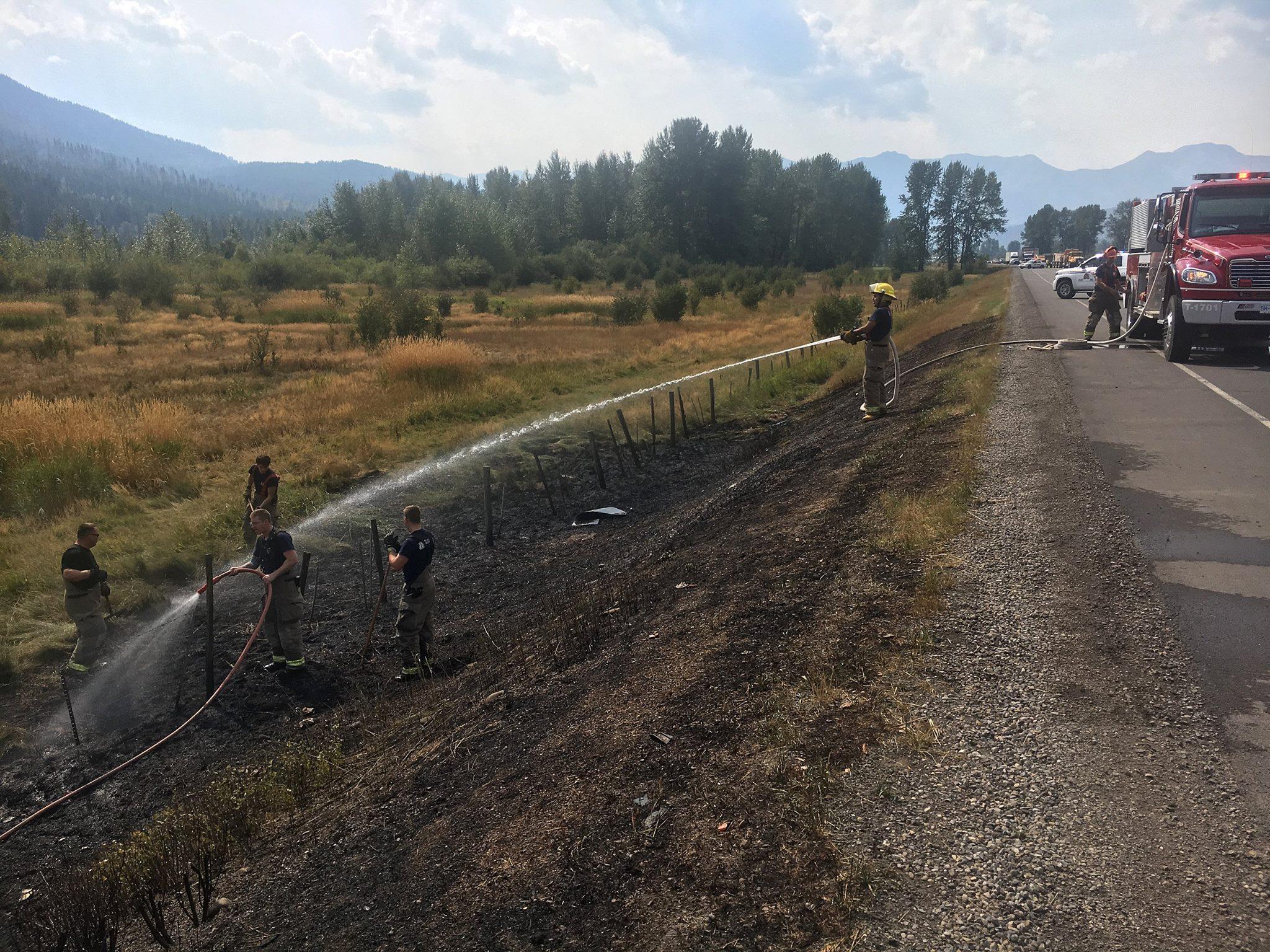 Fire crews extinguish grass fires east of Fernie