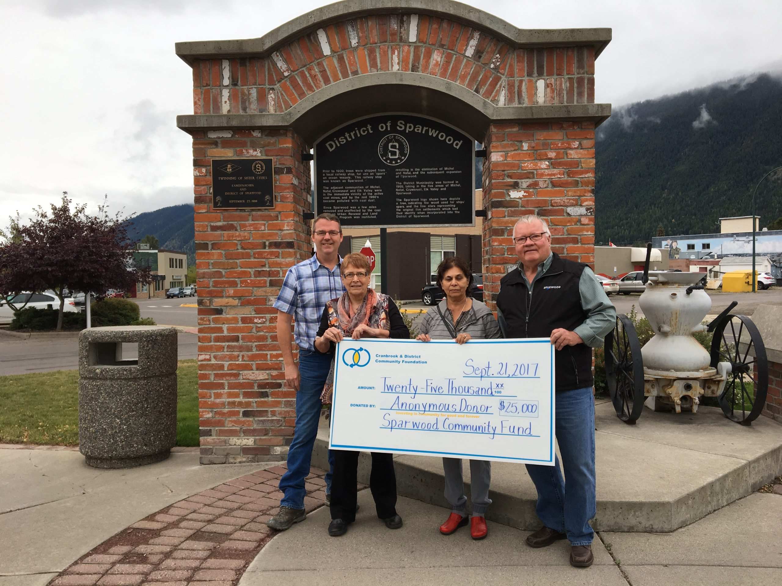 Sparwood community fund receives $25,000 from anonymous donor