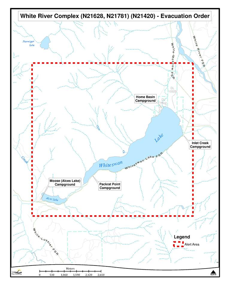 Evacuation Order issued for Whiteswan Lake area