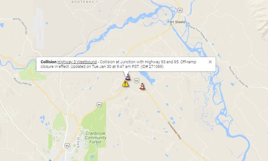HWY 3/93/95 junction closed due to collision