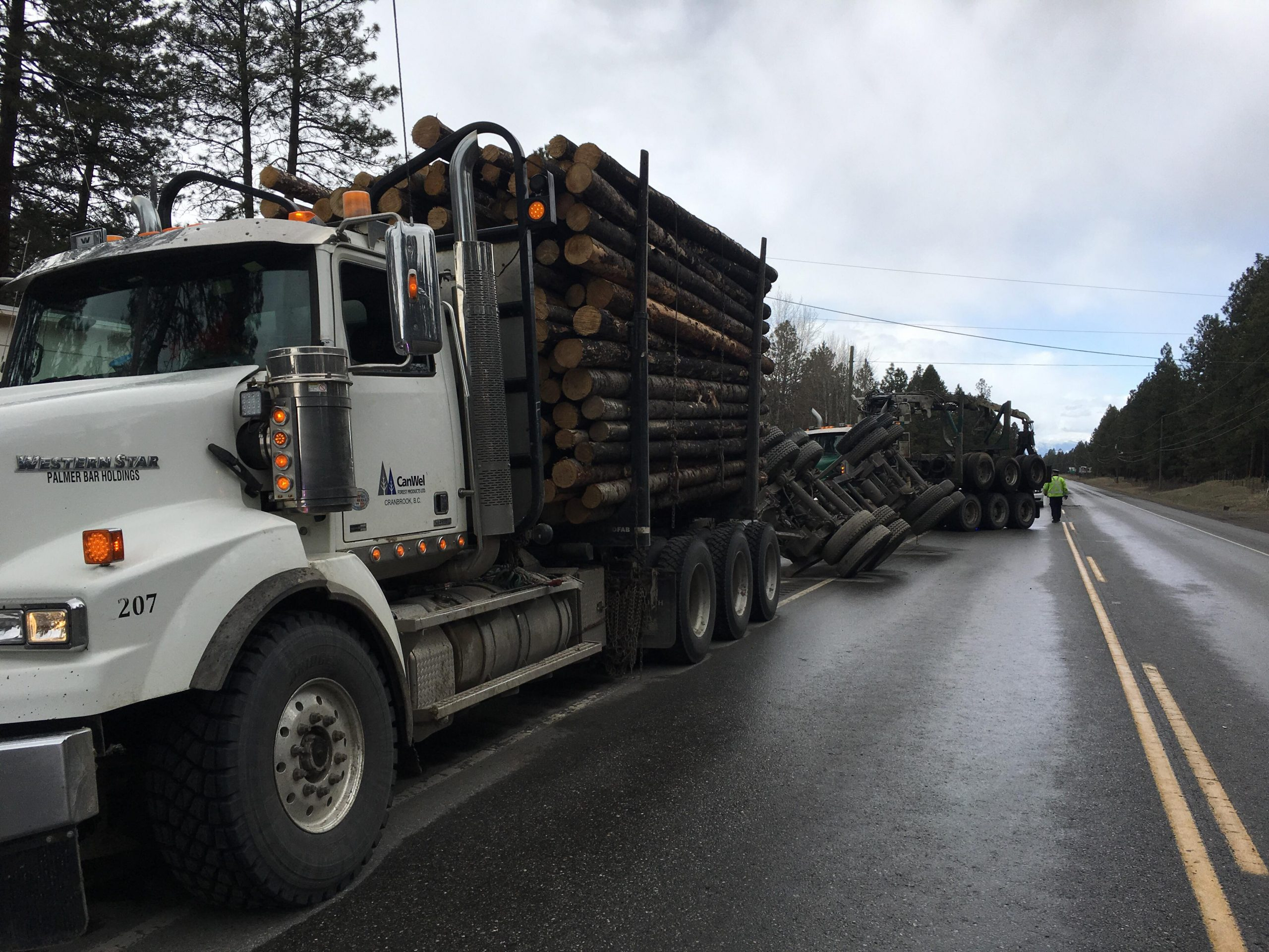 Logging truck loses load near Mayook