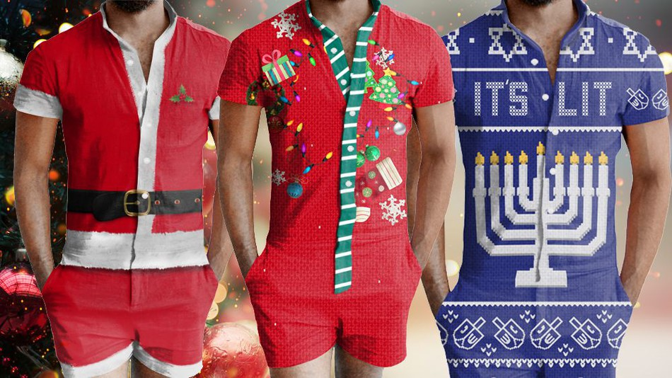 Ugly Christmas... Male Rompers?