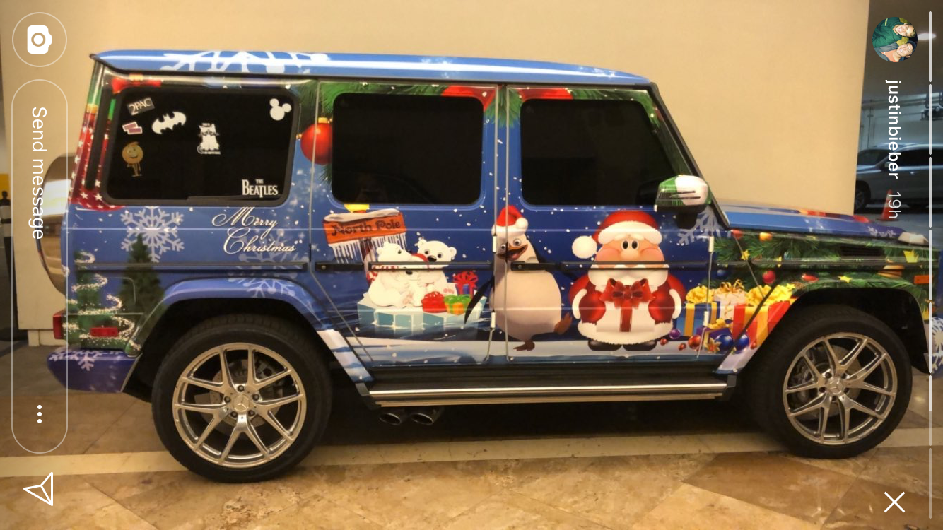 Justin's ride is a rolling Christmas present baby.