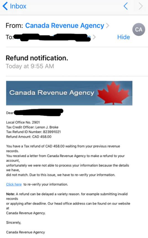Local RCMP warn of tax scam