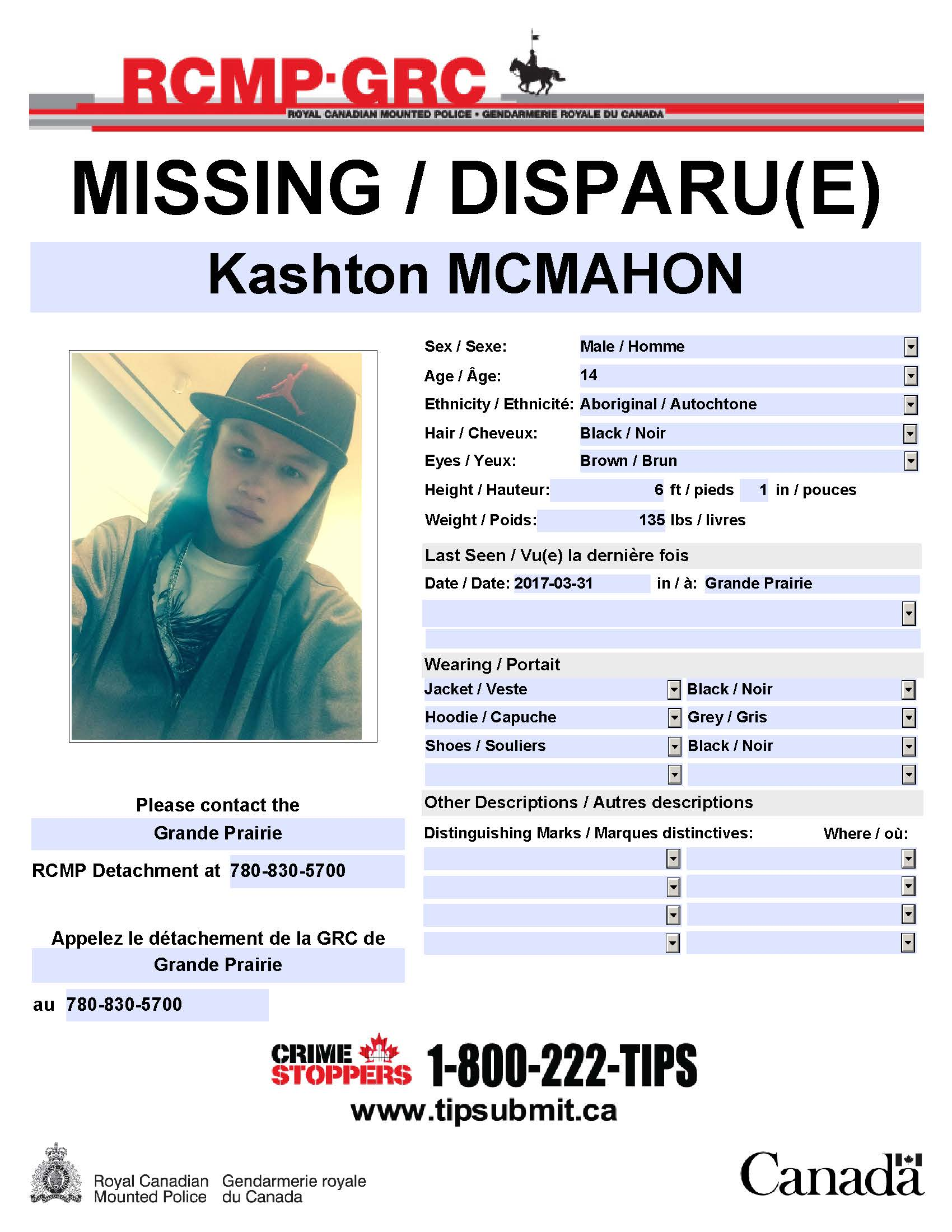 RCMP search for missing 14 year old boy