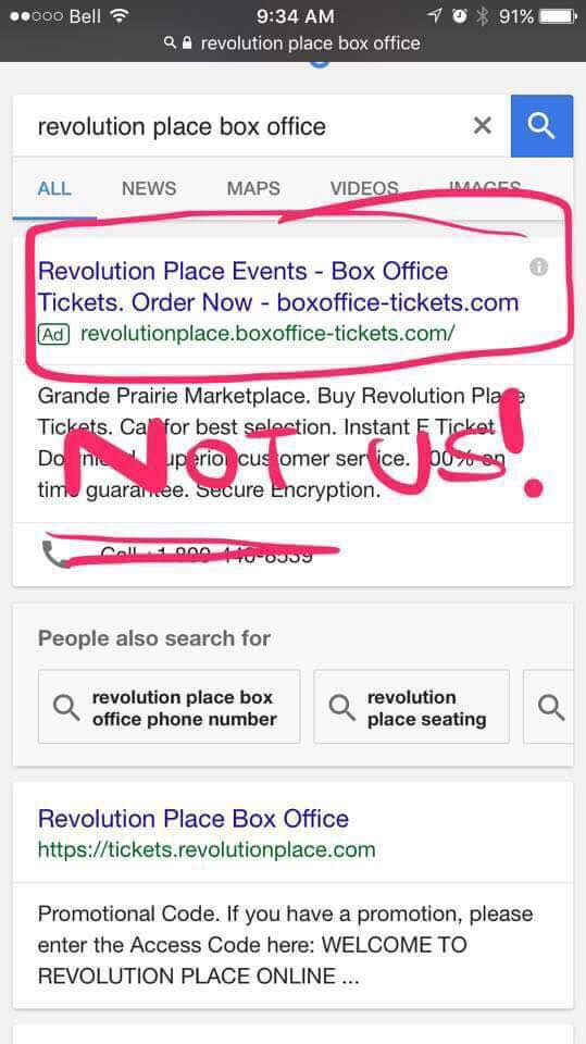 Revolution Place stress caution when purchasing tickets online