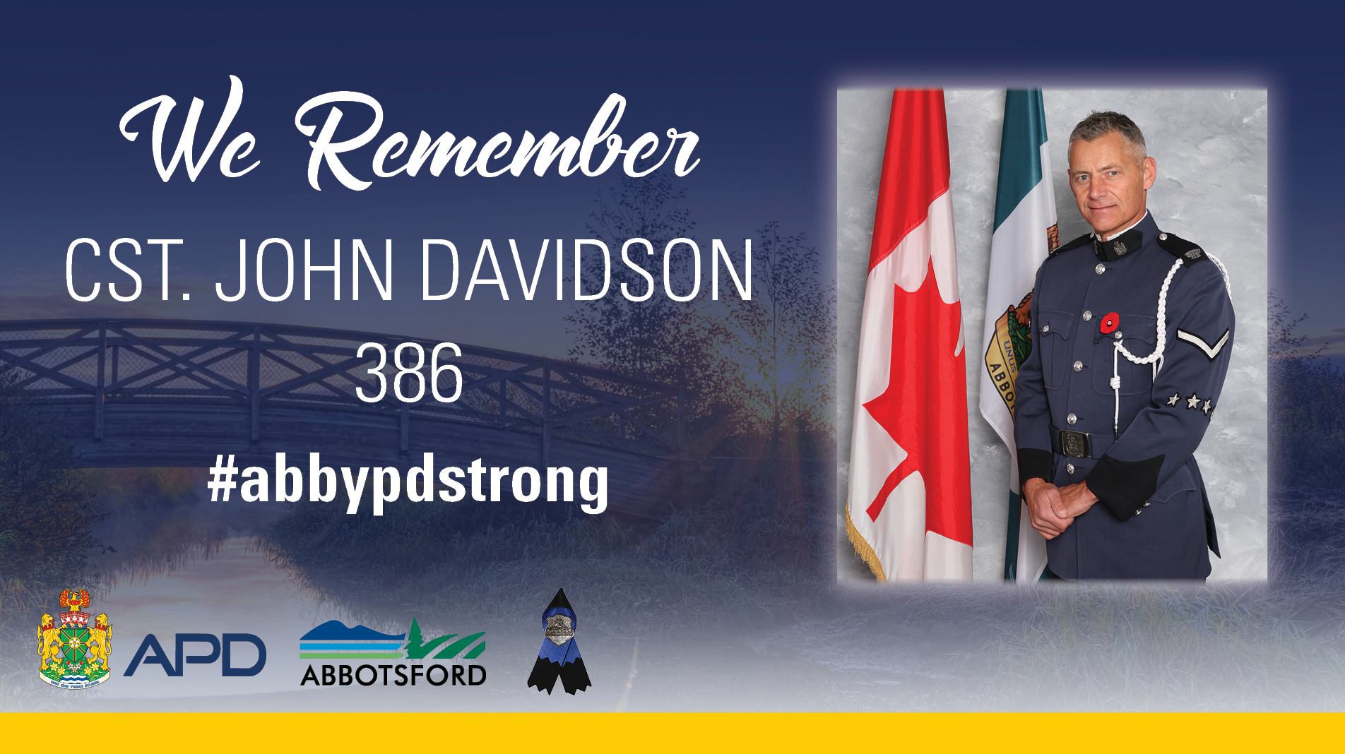 Here's Information on Cst. John Davidson's Celebration of Life