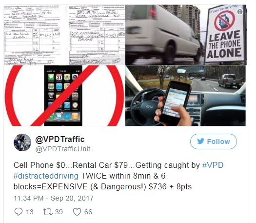 VANCOUVER POLICE TICKET SAME PERSON TWICE FOR DISTRACTED DRIVING 8 MINUTES APART