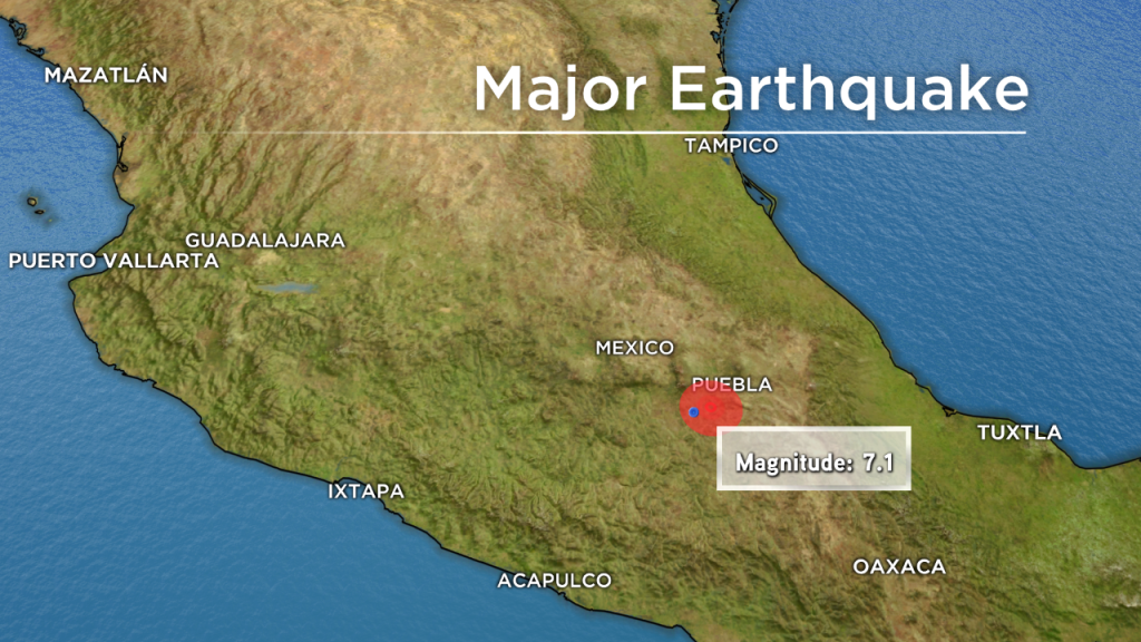 HUGE EARTHQUAKE STRIKES NEAR MEXICO CITY