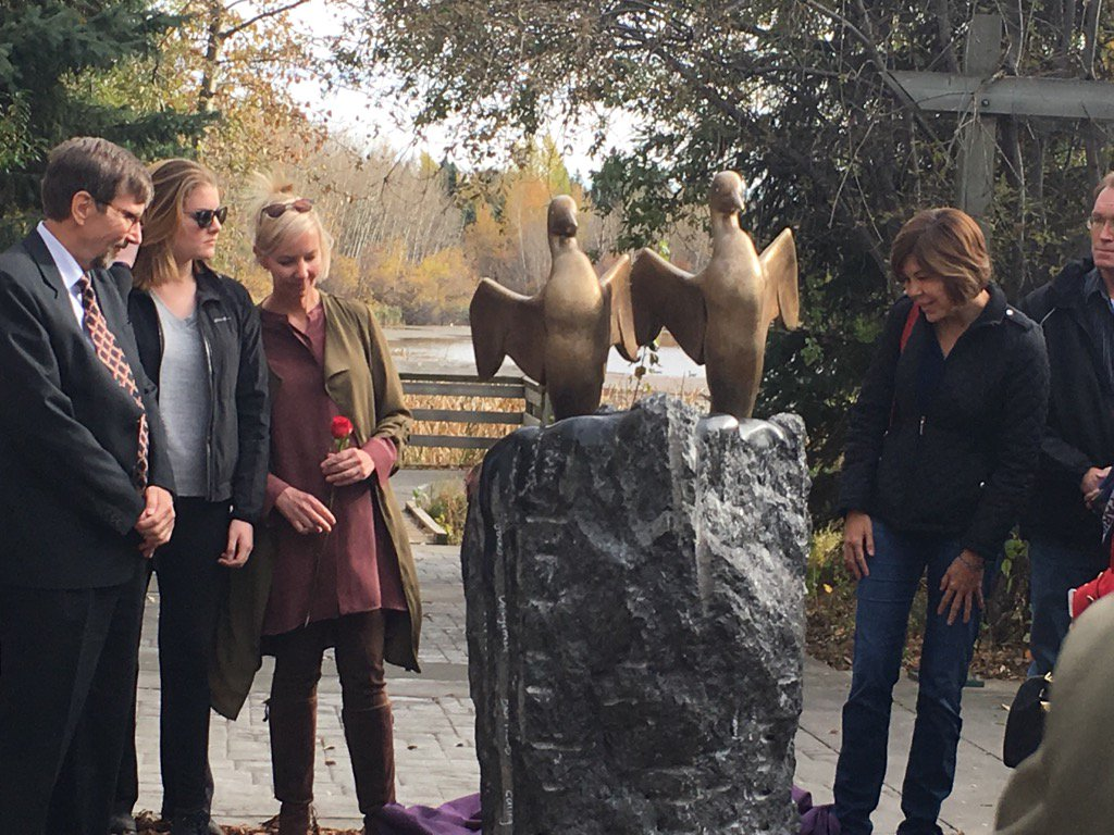 MEMORIAL STATUE UNVEILED IN ST. ALBERT---FOR LYLE AND MARIE MCCANN