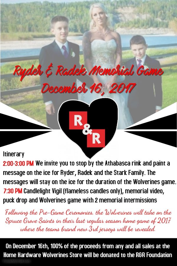 WHITECOURT WOLVERINES HOLDING A SPECIAL HOCKEY GAME THIS SATURDAY TO HONOUR RYDER AND RADEK MACDOUGALL