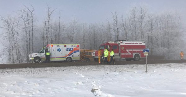 HEAVY FOG PARTLY TO BLAME FOR GRAVEL TRUCK-SCHOOL BUS COLLISION NEAR REDWATER