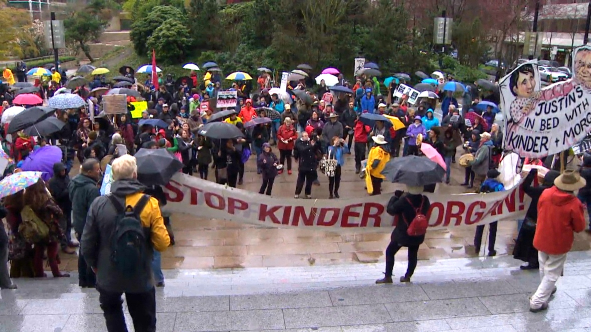 HUNDREDS--NOT THOUSANDS TURNED OUT FOR THE BIG PIPELINE PROTEST IN VANCOUVER