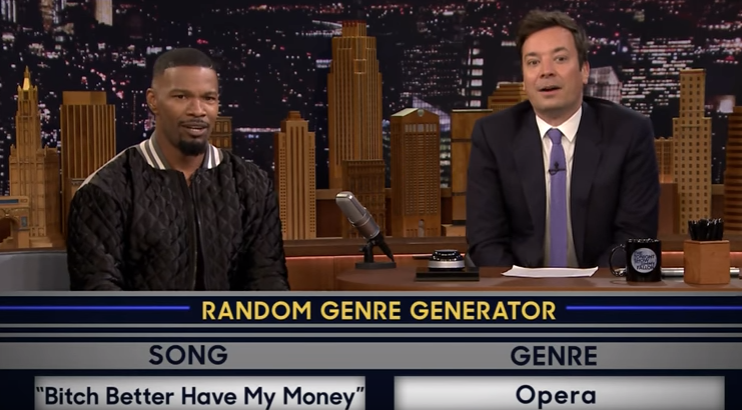 Watch Jamie Foxx Turn Rihanna's 'Bitch Better Have My Money' Into An Epic Opera on 'The Tonight Show'