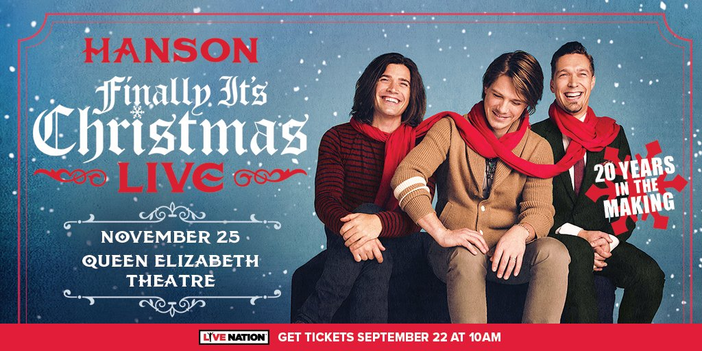 9pm Giveaway with Sarah Bartok- Listen to win 2 tickets Hanson: Finally It's Christmas
