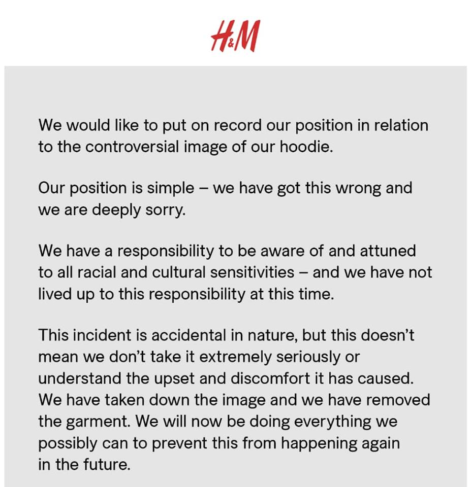 H&M Issues Unequivocal Apology